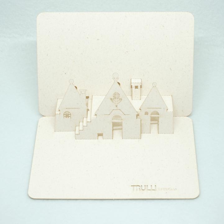 Cartolina pop-up Trulli di Puglia - simboli primitivi preghiera che si eleva a Dio PxC Edizioni