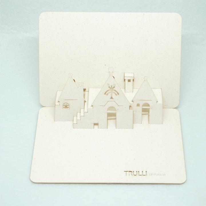 Cartolina pop-up Trulli di Puglia - simboli primitivi Croce ad albero PxC Edizioni