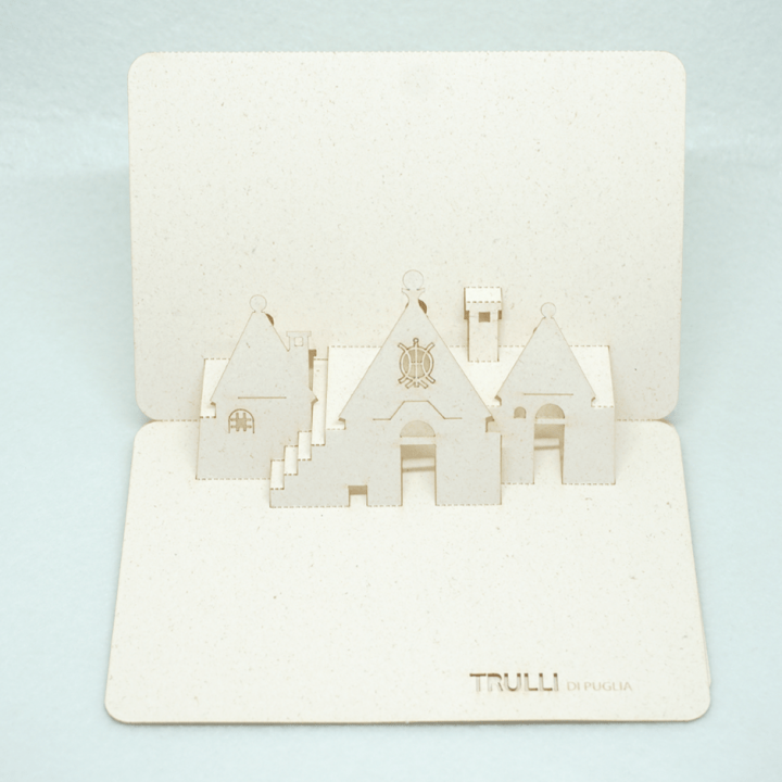 Cartolina pop-up Trulli di Puglia - simboli primitivi Jesus PxC Edizioni