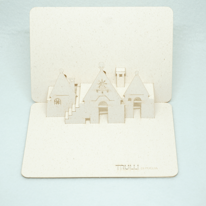 Cartolina pop-up Trulli di Puglia - simboli primitivi croce raggiata PxC Edizioni