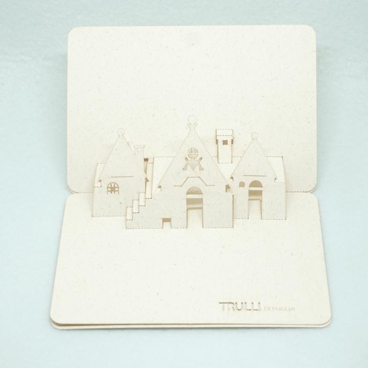 Cartolina pop-up Trulli di Puglia - simboli primitivi preghiera che si rivolge a Dio PxC Edizioni