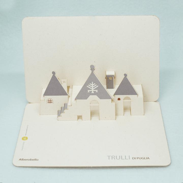 Cartolina pop-up Trulli di Puglia - simboli primitivi Candeliere PxC Edizioni