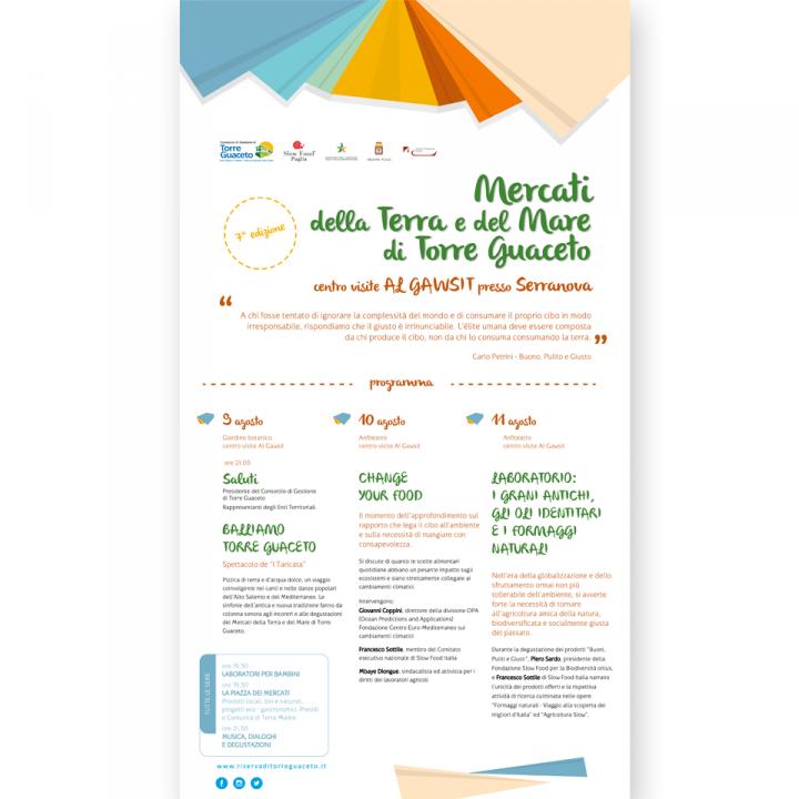 Manisfesto - Pieghevole - mercatini della terra e del mare 2019 - Torre Guaceto - Slow Food - Salento - Puglia - PxC Edizioni