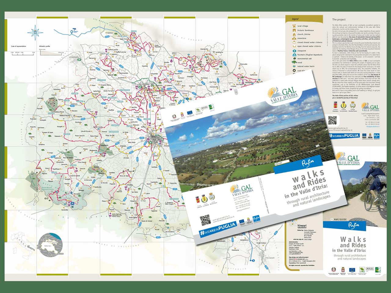Cartoguida - itinerari - Valle d'Itria - Martina Franca - Cisternino - gal Valle d'Itria - Locorotondo - Fiab - trekking - bici- Puglia - PxC Edizioni